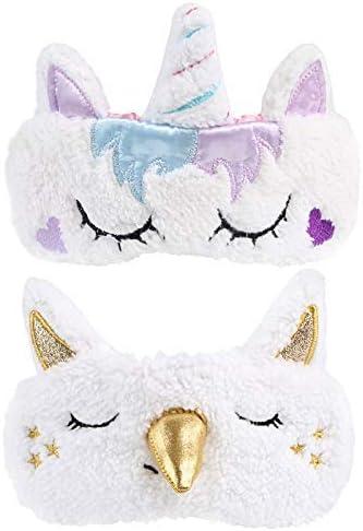 Masque de sommeil en peluche avec oreilles de licorne pour les yeux Pour femme et fille