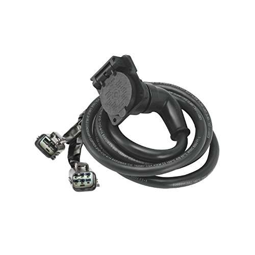 Bargman 54701-007 90 Degree Fifth Wheel Adapter Harness, 7-Way Flat Pin Connector Assembly 7 ft, Ford
