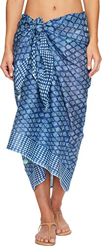 Hat Attack Women's Printed Sarong/Scarf Blues Block Print One Size