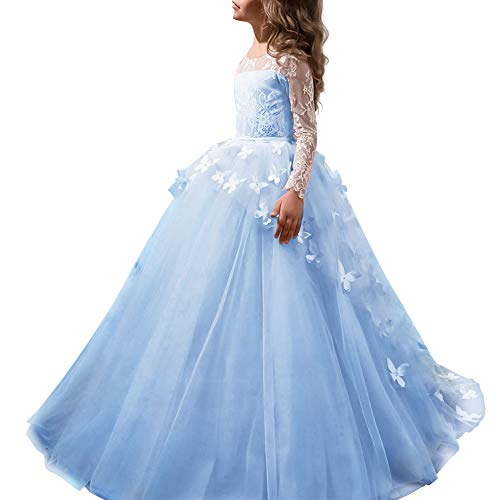 FYMNSI Flower Girls Lace Butterfly Appliques First Communion Dress Long Sleeves Princess Ball Gown Tulle Wedding Dress Light Blue 10-11T -