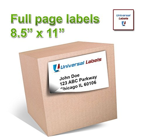 "100 Full Page Shipping Labels - Heavyweight Label For All Laser Inkjet Printers, 8.5"" x 11"" Inch Label, Vertically Slitted On Back For Simple Peeling - Matte White - 100 Sheets"