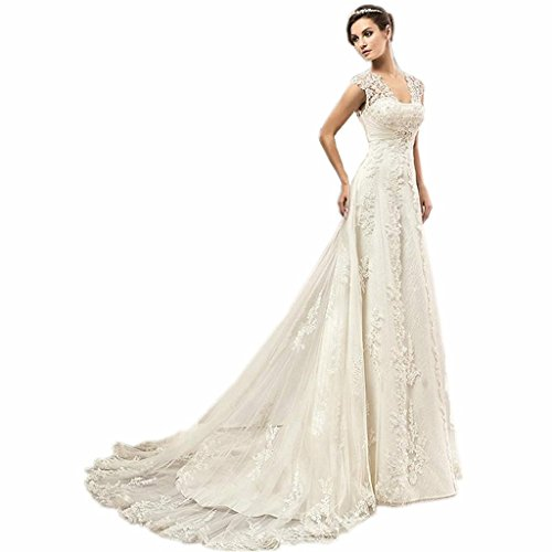 WANNISHA Women's Sexy Cap Sleeve Beaded Lace A-Line Wedding Dress Bridal Gown For Bride ()