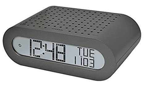 Oregon Scientific RRM116_BK - Reloj despertador digital clásico con radio FM, Gris oscuro (plateado