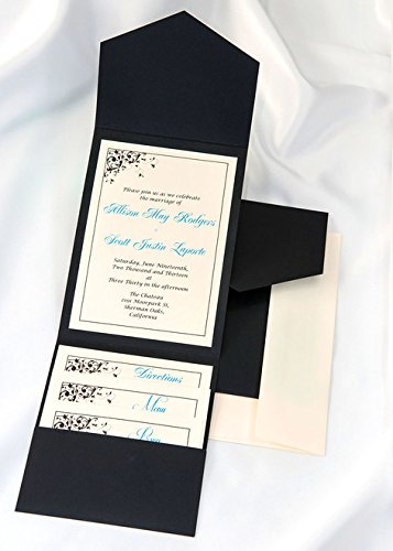 All-in-One Pocket Invitation Kit - Black Elegance - Pack of - Maps Invitation Wedding