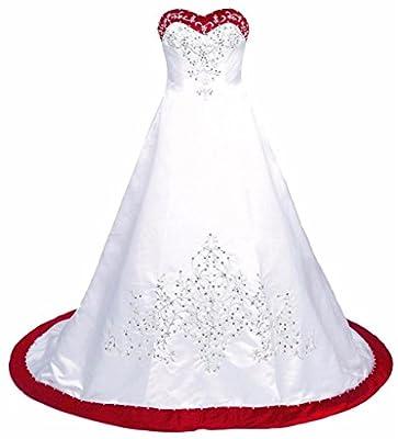 Edaier Women's Court Train Embroidered Satin Wedding Dress Bride Gown