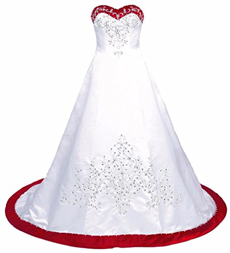 Court Sashes Satin Train - Edaier Women's Court Train Embroidered Satin Wedding Dress Bride Gown Size 26 White Red