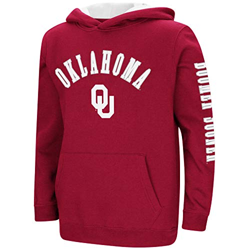 Colosseum NCAA Youth Boys-Crunch Time-Hoody Pullover-Oklahoma Sooners-Crimson-Youth Medium