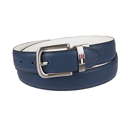 Tommy Hilfiger Men's Reversible Belt, navy/white, (White Reversible Belt)