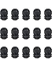 """15 Pack Cable Glands NPT 3/8"""", Strain Relief Cord Connector with Lock Nut and Gasket, Adjustable 6-10 mm Nylon Cable Gland IP68 Waterproof"""