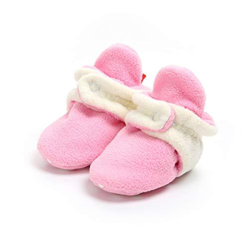 (Sakuracan Baby Boys Girls Cozy Fleece Booties with Non Skid Bottom Infant Shoes Winter Socks (11cm(0-6 Months), C-Pink/White))