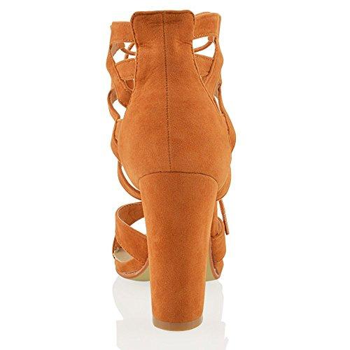 ESSEX GLAM Damen schnitten ferse Pfennigabsatz Sandalen im Gladiatorstil zum Schnüren Zehenfrei sandalen Bräunen Wildlederimitat