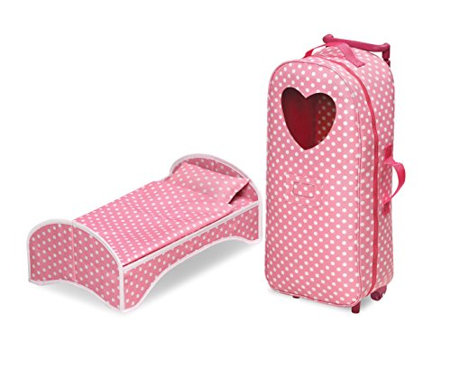 Badger Basket 3-in-1 Doll Carrier with Rocking Bed (fits American Girl Dolls), Pink/White -