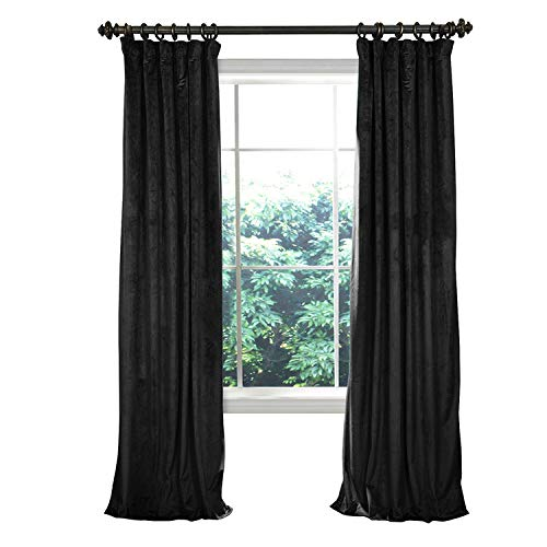 Home Theater Movie Blackout Lined Velvet Curtain Panel Drapes,Flat Hooks - Warm Black 200W x 102L inch (1 Panel) for Concert Stage Hall Club,Party backdrops,Wedding backdrops ()