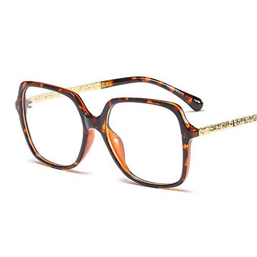 Sunglasses Women's Fashion Glasses,Basic Square Frame Clear Lens Eye Glasses, Metal Temples. Stylish (Color : Lepoard) (Klare Gläser Frames Amazon)