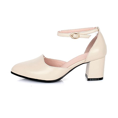 Women's Buckle Pumps Pointed Material Beige Toe WeenFashion Shoes Closed Kitten Heels Solid Soft afHxw
