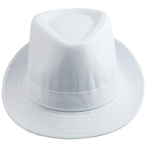 Samtree Fedora Hats for Women Men,Narrow Roll-up Brim Jazz Hat(White)