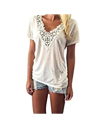 Pooqdo Women Summer Vest Top Short Sleeve Blouse Casual Tank Tops T-Shirt Lace