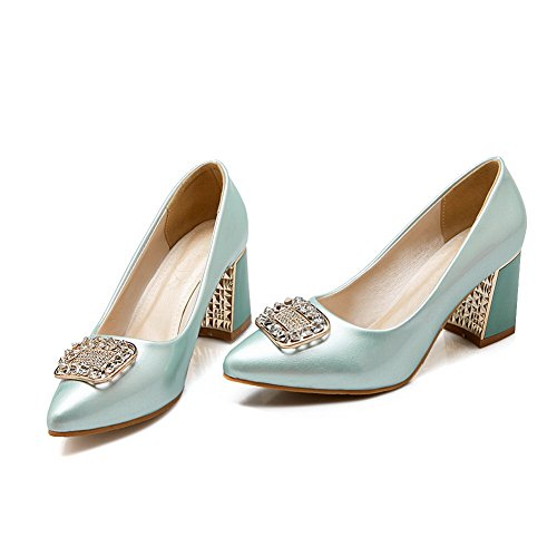 BalaMasa Girls Zircon Square Buckle Electroplate Heel Imitated Leather Pumps-Shoes Blue Vjni9RJV8