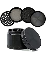 SK Depot™ {Improved} Portable Herb Grinder 2 Inch with 4 Layers 30 Metal Grind Teeth Metal & Scraper, Magnetic Lid Zinc Alloy Material (Black, 2 inch Flat)