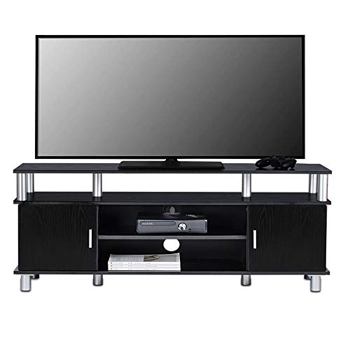 ChooChoo Wood TV Stand, Low Entertainment Center, Small TV Console for Living Room, Black