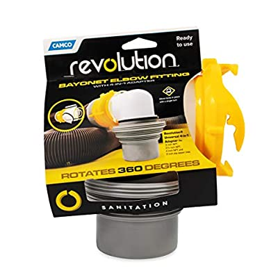 Camco 39471 Revolution 4-in-1 Sewer Elbow - Bayonet Style Elbow Rotates 360 Degrees and is Detachable, Built-in Gasket for an Odor Tight Connection: Automotive