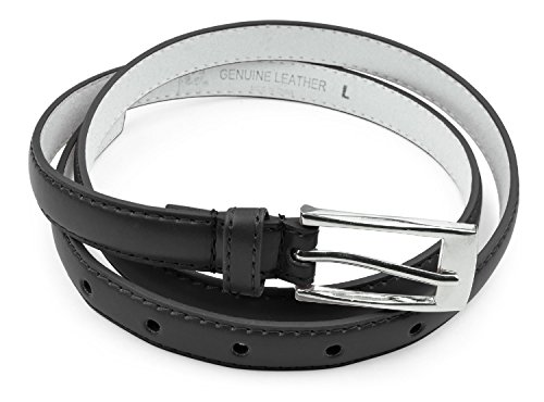 Womens Skinny Leather Belt with Silver Polished Square Belt Buckle - Solid Color PU Leather Belts by Belle Donne - Black Medium