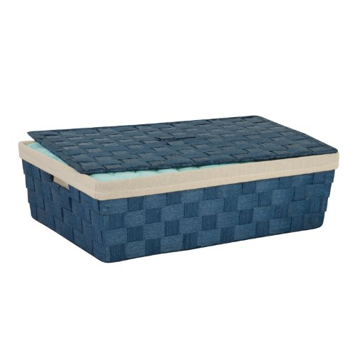 Honey-Can-Do STO-03736 Under The Bed Paper Rope Basket with Handle and Lid, Blue, 23.5 X 15.45 X 6.5 (Under Bed Baskets)