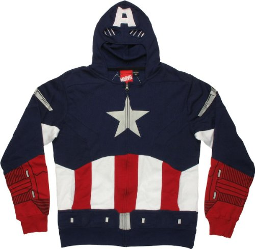 Captain America Avengers Hoodie,Multi (Navy/Red/White),X-Large