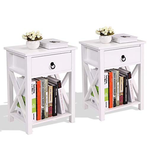 Set of 2 Wood Sofa End Bedside Table Night W/Drawer Storage Shelf Bedroom Black (White) ()