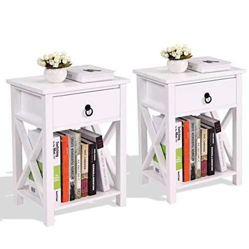 Set of 2 Wood Sofa End Bedside Table Night W/Drawer Storage Shelf Bedroom (White)