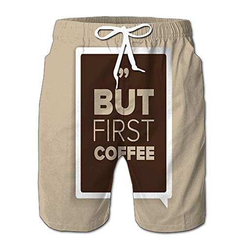 Randell But Coffee First Drawstring Shorts Beach Baskestball Pants ()