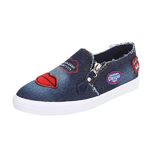 Ital-Design - Zapatillas de casa Mujer Dunkelblau R55-1