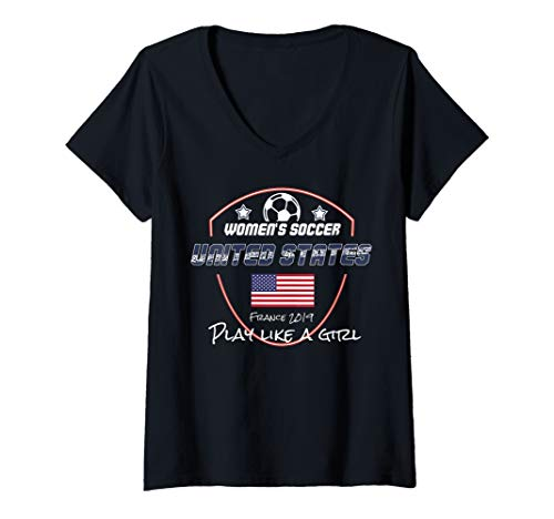Womens United States Womens Cup Football Jersey USA Soccer V-Neck -