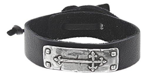 Pewter Black Leather Bracelet (Bob Siemon Pewter Cross Bracelet on Leather Band with Adjustable Cord)
