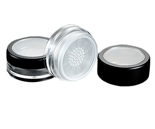 HugeStore 10 Pcs 10ml Empty Clear Plastic Cosmetic Containers Pot Jars Face Powder Blusher Pots with Sifter