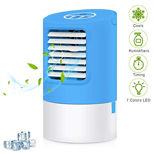 StillCool Portable Air Cooler Ice Fan, Mini Personal Evaporative Cooler Small Desktop Cooling Fan with 7 Colors LED Lights, Super Quiet Personal Table Desk Fan (Blue) ()