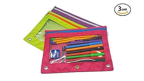 Amazon.com: iwrite 3-Ring lápiz bolsa con ventana ...