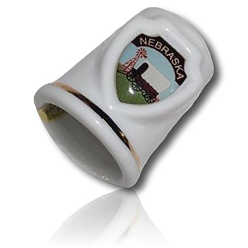 Custom & Collectable {11mm Hgt.x 17mm Dia} 1 Single, Mid-Size Sewing Thimble Made of Fine-Grade Ceramic Glass w/ Nebraska Wagon Train Carriage Caravan Coach Buggy Headed West Windmill [Multicolor] - Carriage Caravan