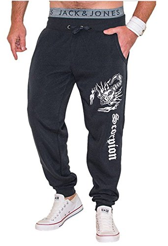 Mada Mens Casual Scorpion Sports Pants Closed-Bottom Sweat Pant Large Dark Gray