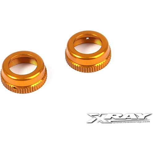 Xray 308353-O XRAY T4 Alum. Shock Cap Nut with Vent Hole - Orange (2)