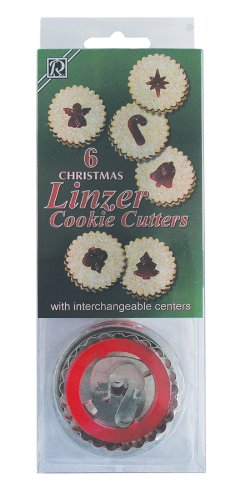 R&M International 1848 Christmas Linzer Cookie Cutters, Angel, Candy Cane, Bethlehem Star, Bell, Christmas Tree, Ornament, 6-Piece Set Linzer Cutter Set