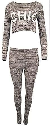 Women's Ladies N9 CHIC Printed Long Sleeve Crop Top and Leggings Set
