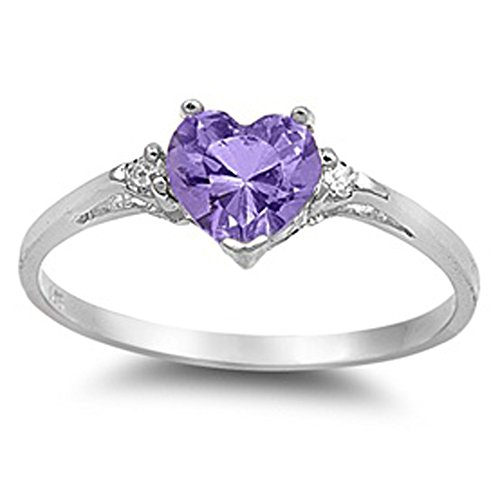 Heart Simulated Amethyst & Clear stone .925 Sterling - December Birthstone Promise Rings