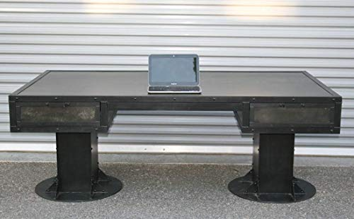 Industrial Desk with Drawers. Modern Industrial Table. Steel Desk with Storage. Rustic Office Furniture. Reclaimed Wood…