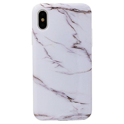 iPhone X Case, Lartin Jellybean Gel Case for iPhone X (White Marble)
