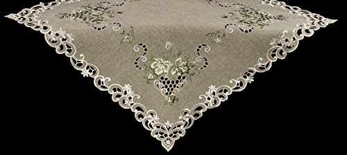 Linens, Art and Things Embroidered Green Leaf on Antique Green Fabric Table Topper, Small Table Cloth, Dresser Scarf 44'' x 44'' by Linens, Art and Things (Image #3)