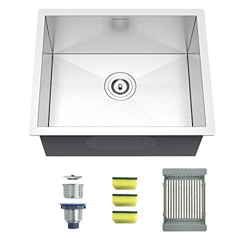 MENSARJOR 22 inch Undermount Single Bowl Kitchen Sink - 18 Gauge SUS304 Stainless Steel Sink, MUS2218S9