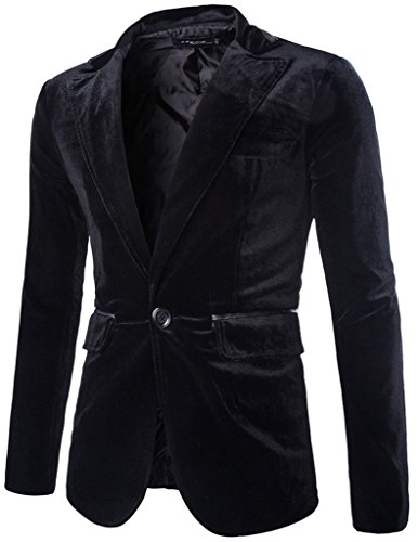 Porlox Mens Slim Fit Peaked Lapel 1 Button Velvet Blazer Jacket Black ()