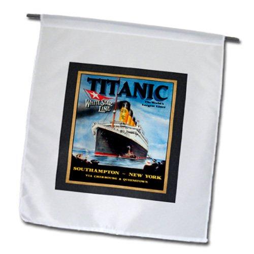 3dRose fl_109667_1 Titanic Vintage Travel Poster Garden Flag, 12 by 18-Inch