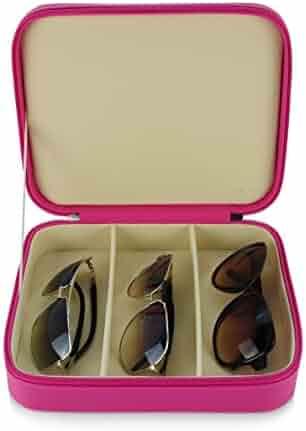 3 Piece Pink Extra Large Travel Eyeglass Sunglasses Glasses Zippered Case
